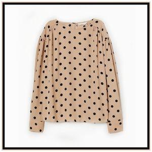 Polka Dot Batwing Sleeve Blouse